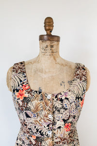 80s Front-Button Floral Dress