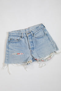 90s Levi's Floral Patch Jean Shorts