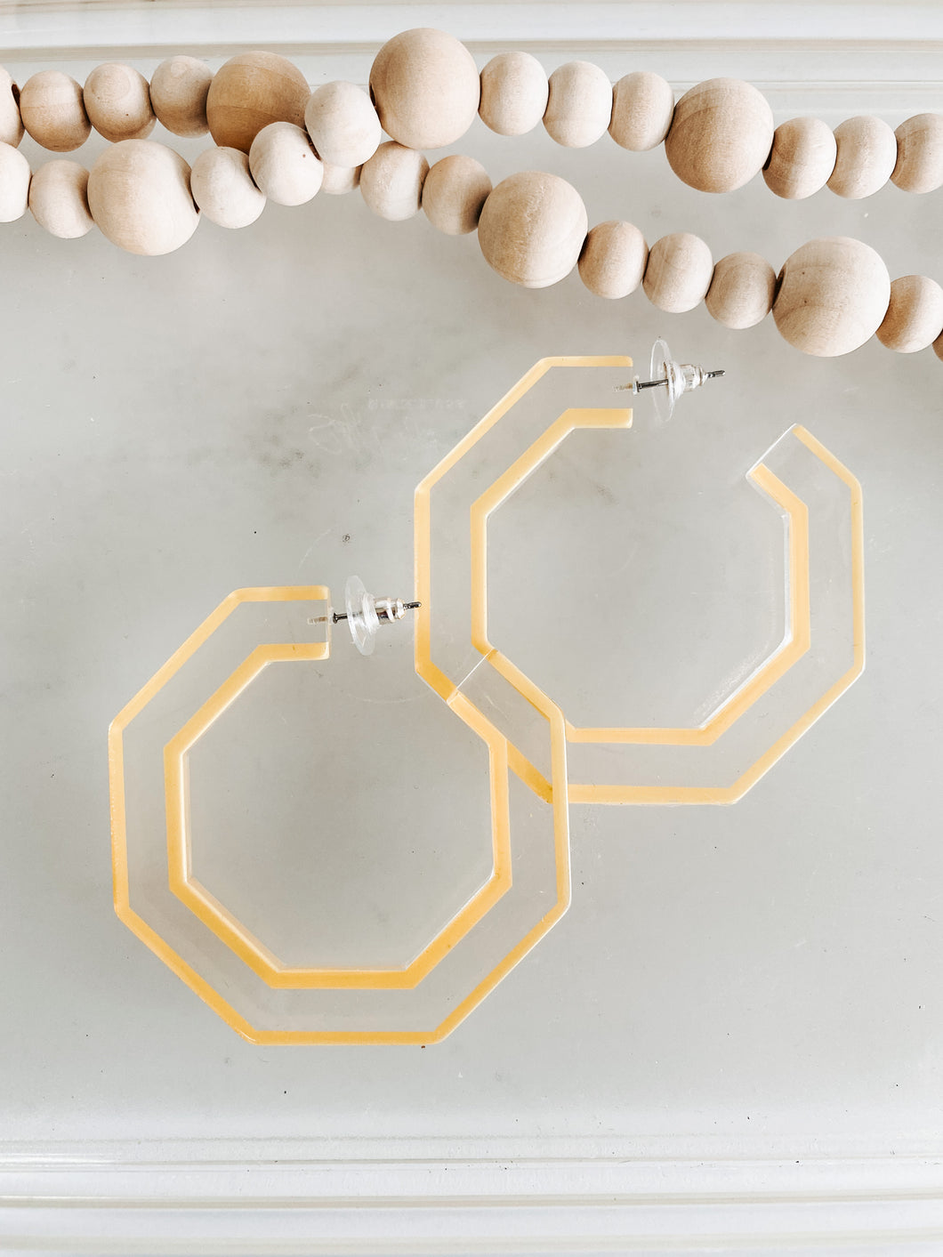 Yellow Geometric Acrylic Hoops