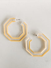 Load image into Gallery viewer, Yellow Geometric Acrylic Hoops