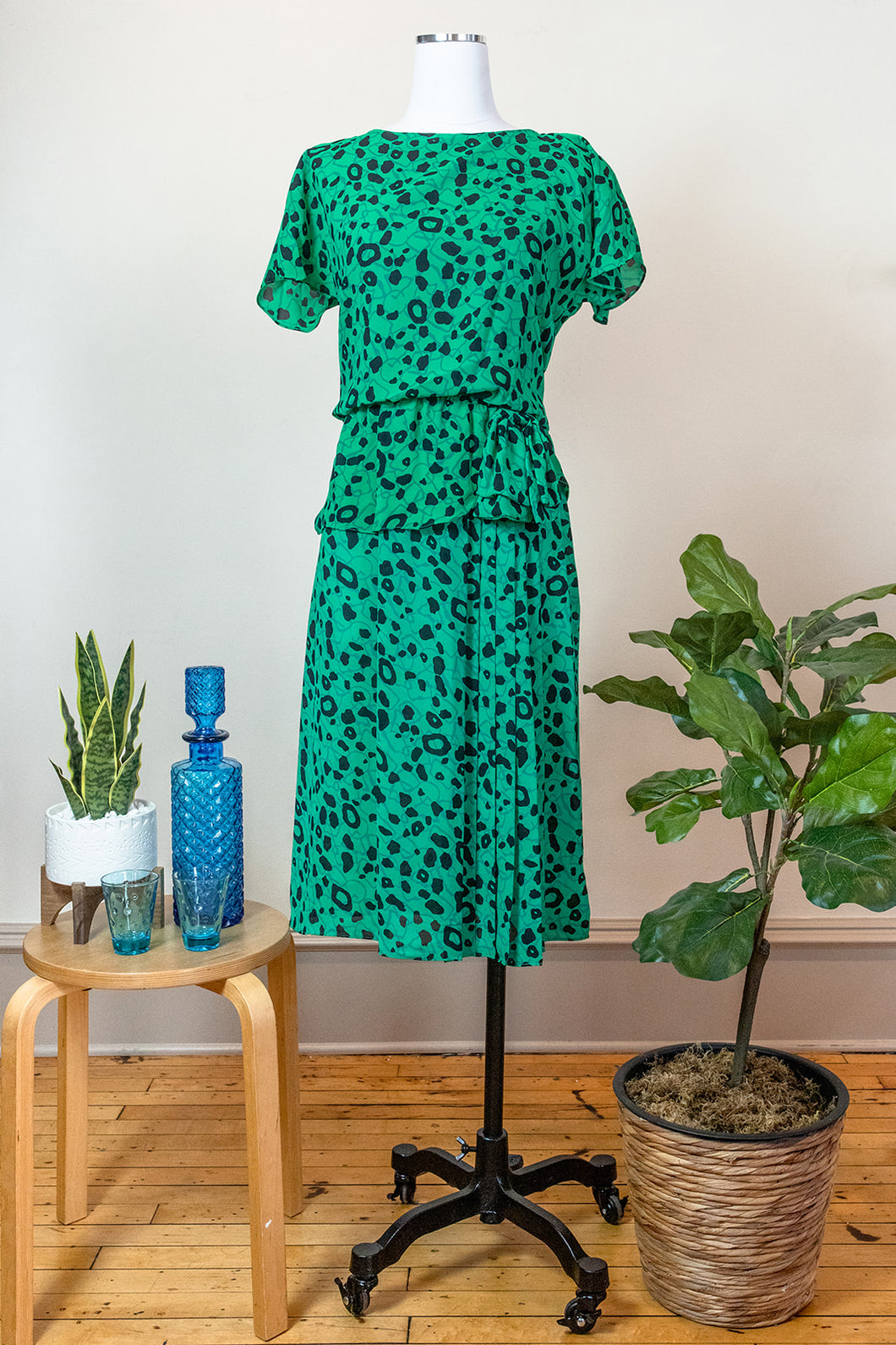70s Green & Black Dress