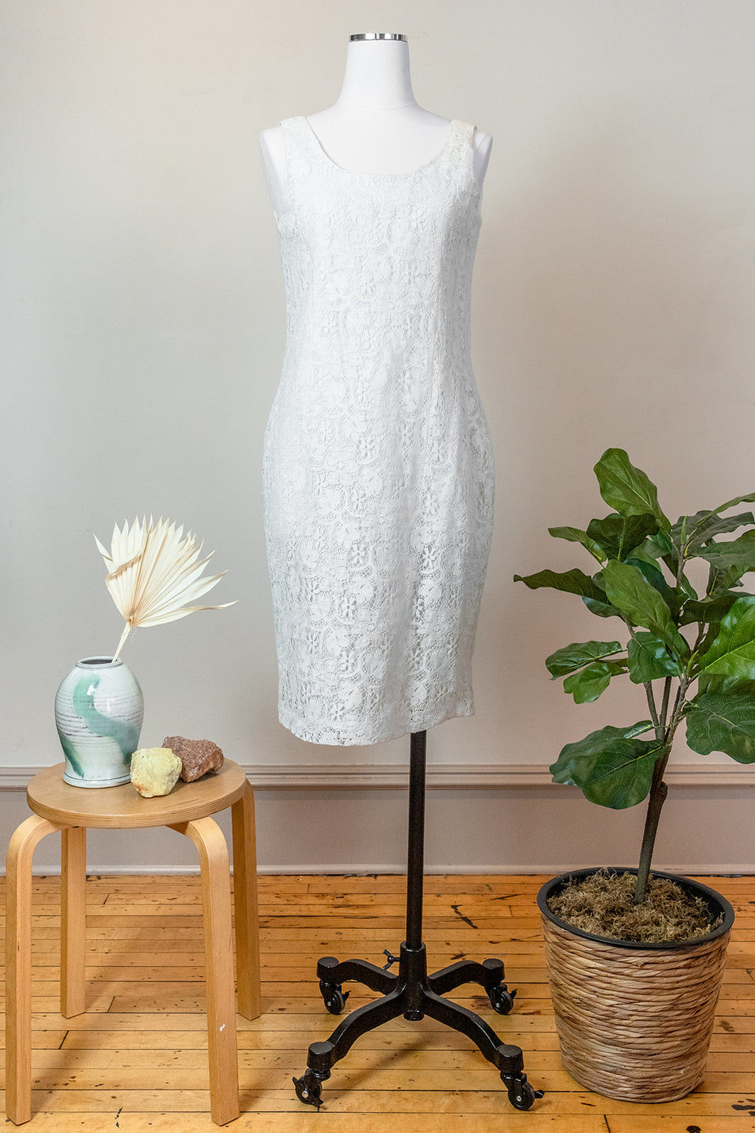 90s White Lace Summer Dress