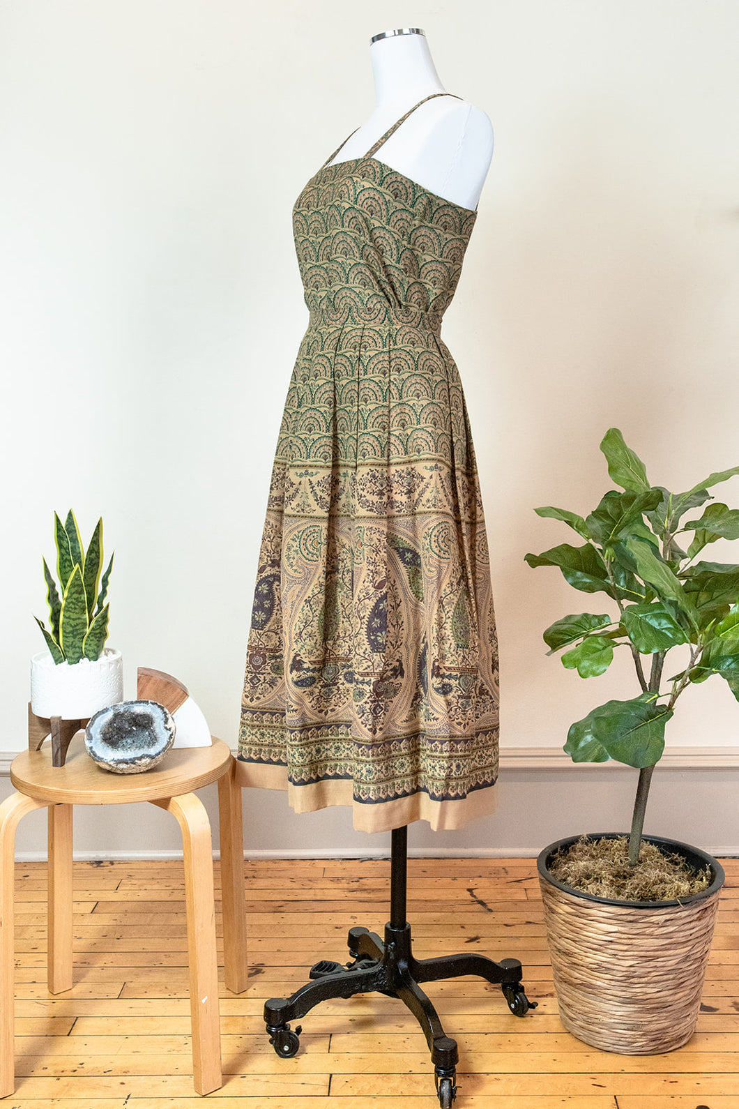 60s Handmade Peacock Inspired Pattern Dress