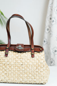 60s John Romain Wicker Purse w/ Leather Handles