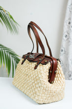 Load image into Gallery viewer, 60s John Romain Wicker Purse w/ Leather Handles