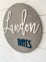Rachel's Wood Barn | Nursery Wall Decor | Round Nursery Name Sign