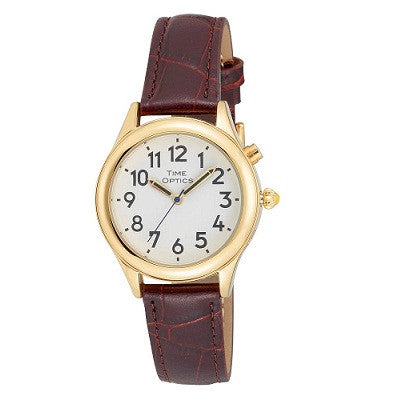 Watches - Ladies Talking -  Ladies' Gold Talking Watch With Brown Leather Band
