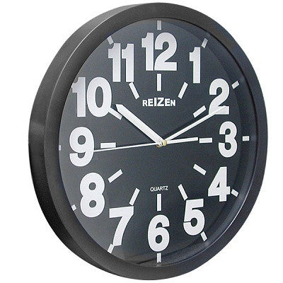 - Clocks - Big & Bold Black Analog Wall Clock