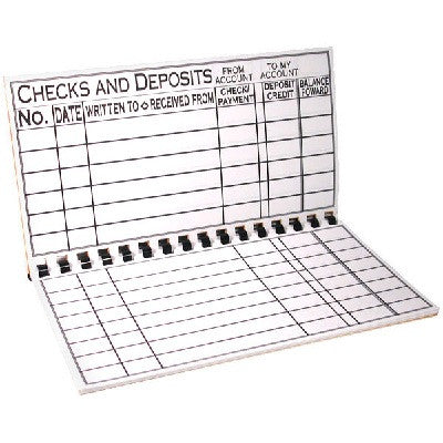 Writing Aids-  Pocket Size Check Register