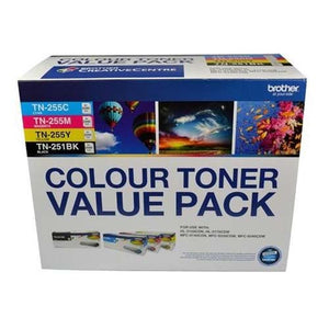 Brother TN-251BK and TN255 Colour Laser Toner Value Pack. Black, Cyan, Magenta, Yellow (8AE00003)