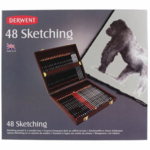 DERWENT SKETCHING PENCILS WITH WOODEN BOX PACK 48