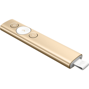 LOGITECH SPOTLIGHT PRESENTATION REMOTE- GOLD, BLUETOOTH OR USB CONNECT, 30M RANGE-1YR WTY
