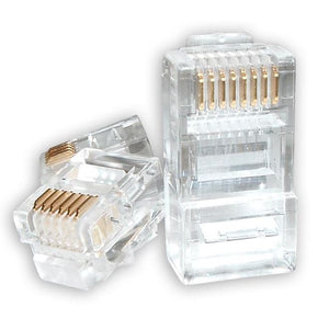 Astrotek RJ45 Connector Modular Plug Crimp 8P8C CAT5e LAN Network Ethernet Head 2 Prong Blade 3u' Transparent