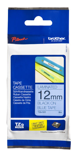 Brother TZe-531 label-making tape Black on blue