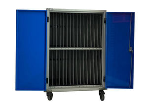 Gilkon LCMT-30 - 30 Bay PC Vault Trolley w/ Eco System - Silver Doors