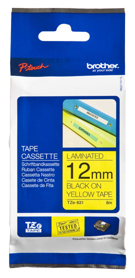 Brother TZe-631 label-making tape Black on yellow
