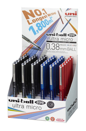 UNI-BALL PEN UNI RB EYE ULTRA FINE COUNTER DISPLAY 3DOZ ASST COLOURS