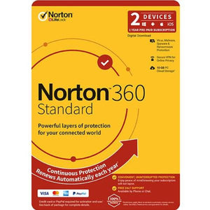 NortonLifeLock 360 Standard, 10GB, 1 User, 2 Devices, 12 Months, PC, MAC, Android, iOS, DVD, OEM, Subscription