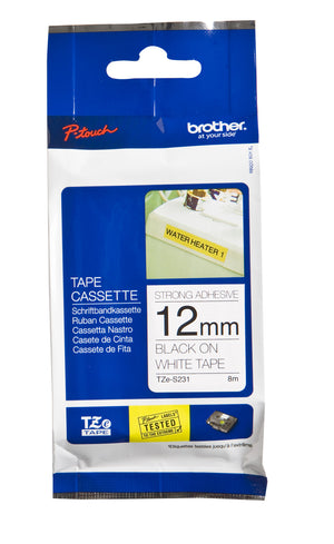 Brother 12MM BLACK ON WHITE STRONG ADHESIVE TZ TAPE