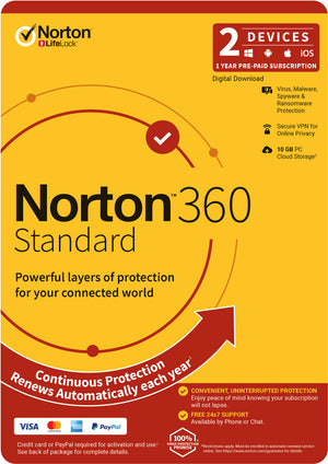 NortonLifeLock 360 Standard, 10GB, 1 User, 2 Devices, 12 Months, PC, MAC, Android, iOS, DVD, Subscription
