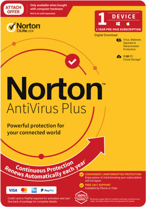 NortonLifeLock Anti Virus Plus 2020, 2GB, 1 User, 1 Devices, 12 Months, PC, MAC, Android, iOS, DVD, Subscription