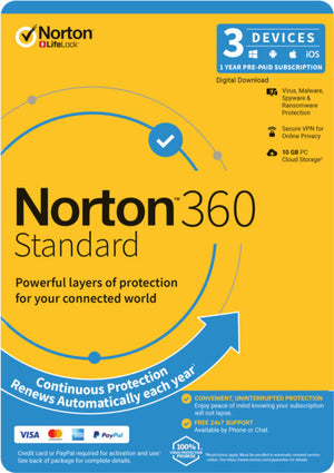 NortonLifeLock 360 Standard, 10GB, 1 User, 3 Devices, 12 Months, PC, MAC, Android, iOS, DVD, Subscription