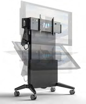 Salamander Designs Large Electric Lift & Tilt Mobile Display Stand Multimedia cart Graphite,Grey Flat panel
