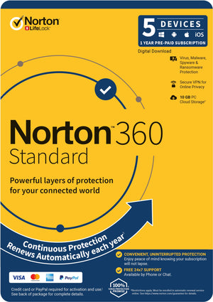 NortonLifeLock 360 Standard, 10GB, 1 User, 5 Devices, 12 Months, PC, MAC, Android, iOS, DVD, Subscription