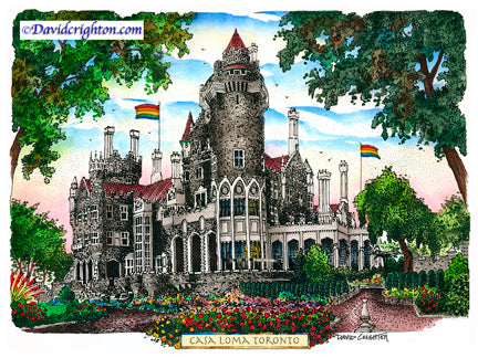 Casa Loma with Pride Flags by David Crighton Art