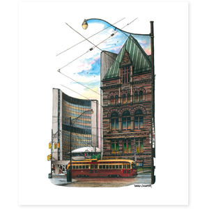 Toronto Old and New City Hall Toronto Art Print