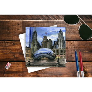 Chicago Note Card, Cloud Gate Souvenir Gift
