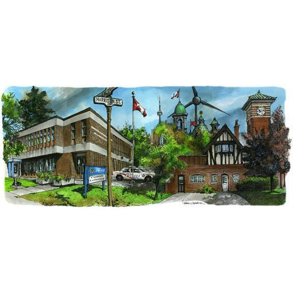 Police Station 14 Division and C.N.E Sub Station Toronto by Artist Illustrator David Crighton Art