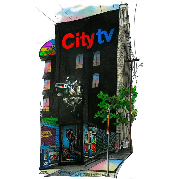 Post Card - City TV Car Wall by David Crighton