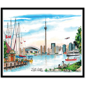 Toronto Skyline (Island) Canvas Framed Wall Art