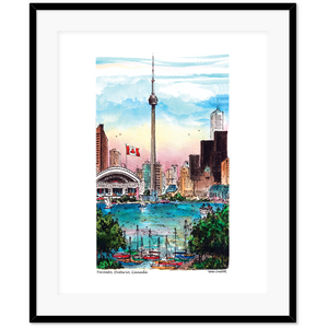 Toronto Skyline CN Tower Glass Framed Art
