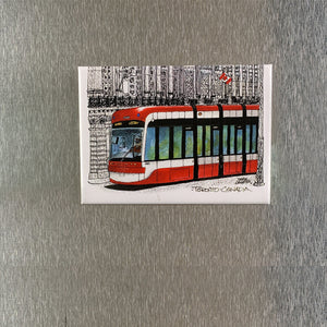 Toronto TTC  Streetcar Red with B&W Fridge Magnet