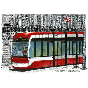 Toronto Streetcar Red with B&W Fridge Magnet