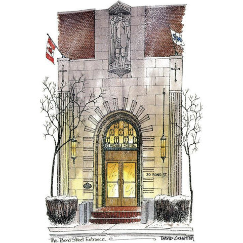 St. Michaels Hospital Winter - Bond Street, Toronto, Canada by Artist Illustrator David Crighton Art