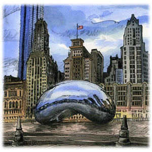Chicago U.S.A. by Artist Illustrator David Crighton Art