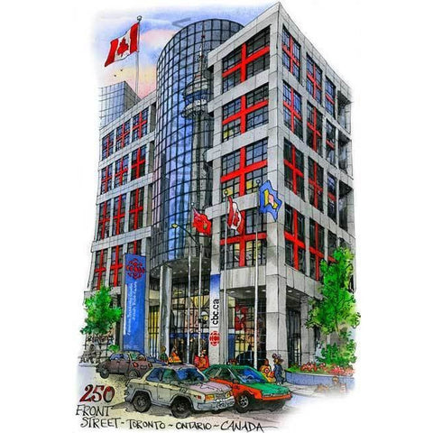 CBC Building in Toronto, Canada by Artist Illustrator David Crighton Art