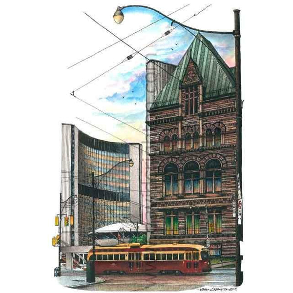 Old and New City Hall, Toronto, Canada by Artist Illustrator David Crighton Art