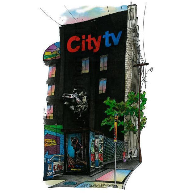 City TV Building #3 Queen St. Toronto Canada by Artist Illustrator David Crighton Art
