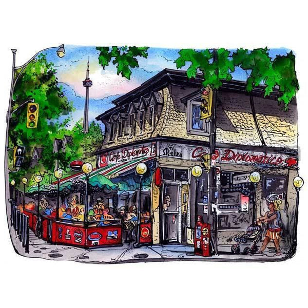 Cafe Diplomatico,Toronto by Artist Illustrator David Crighton Art