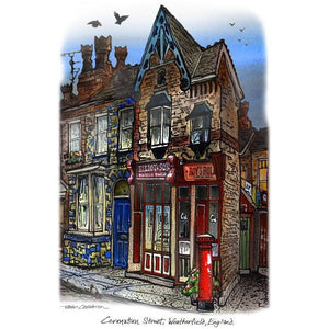 Roy's Rolls on Coronation Street, England by Artist Illustrator David Crighton Art