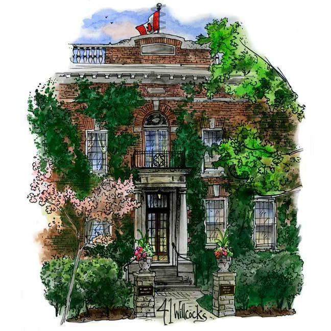 Faculty Club, University of Toronto. Toronto, Canada by Artist Illustrator David Crighton Art