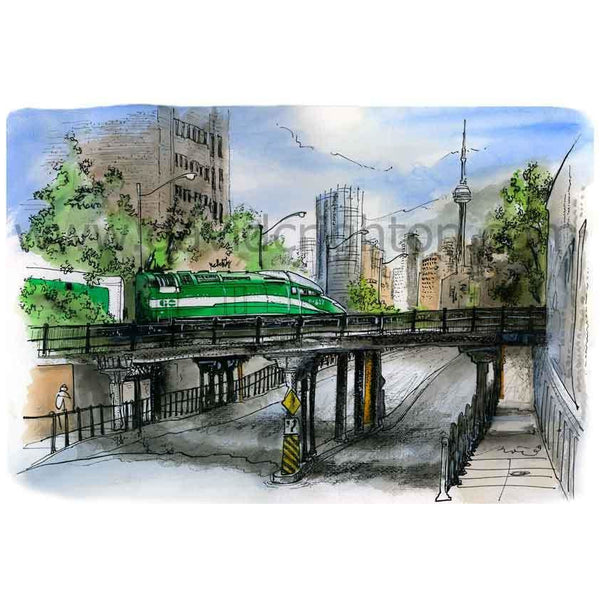 GO Train Bloor Street, Toronto, Canada by Artist Illustrator David Crighton Art