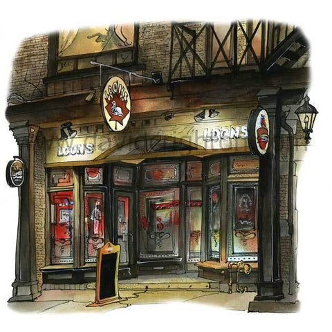 Loons Pub, Toronto, Ontario, Canada by Artist Illustrator David Crighton Art