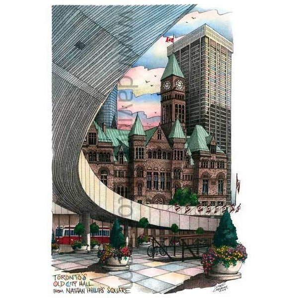 Toronto City Hall, Nathan Philips Square, Canada by Artist Illustrator David Crighton Art