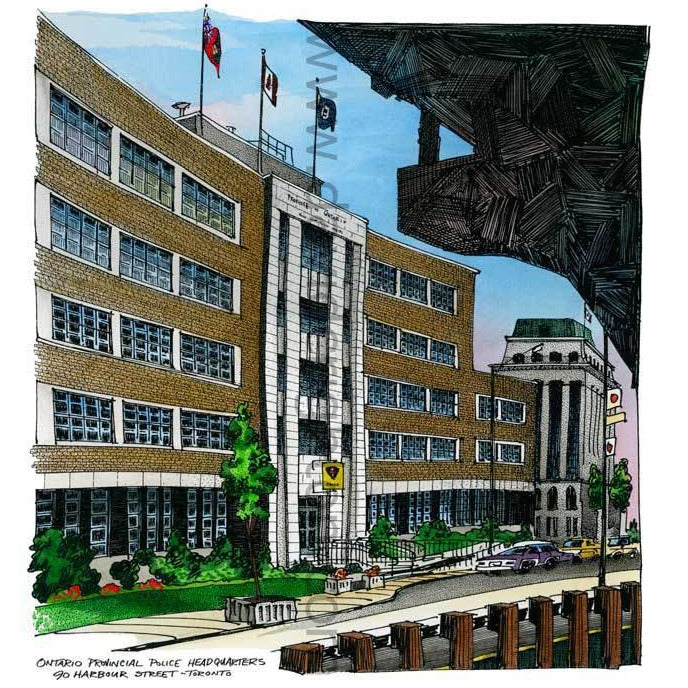 Ontario Provincial Police Headquarters, Toronto, Canada by Artist Illustrator David Crighton Art