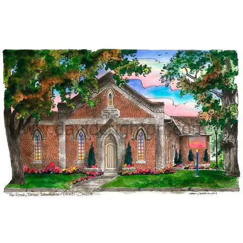 Turner Schoolhouse, Toronto, Ontario by Artist Illustrator David Crighton Art